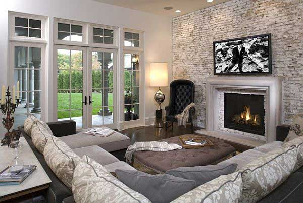 brilliant ideas for decorating your living room blue and white stone wall in 17
