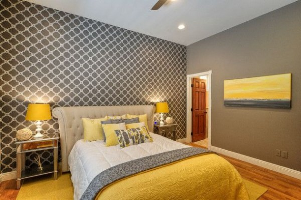 yellow and gray accent bedroom 17 Interesting Wallpapers With Geometric Pattern For Every