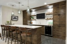 Distinguished Rustic Home Bar Design