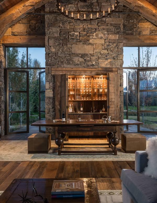 Distinguished Rustic Home Bar Design