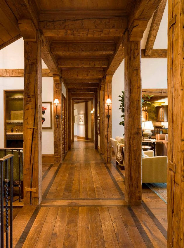 log cabin living room decorating ideas leather sectional 15 great rustic hallway designs that will inspire you with ...