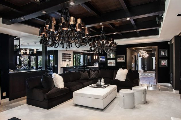 18 Extravagant Black Living Room Designs That Never Go Out ...