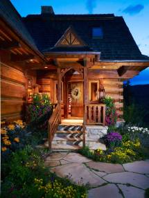 Log Cabin Home Front Entrances