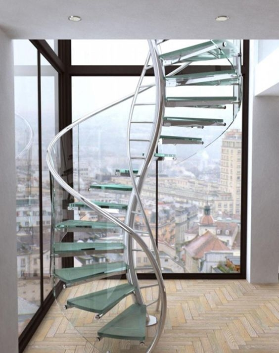 15 Stunning Glass Spiral Staircase Designs That You Shouldn T Miss | Glass And Chrome Staircase | Contemporary | White Post | Single Spine | Lights | Stainless Steel