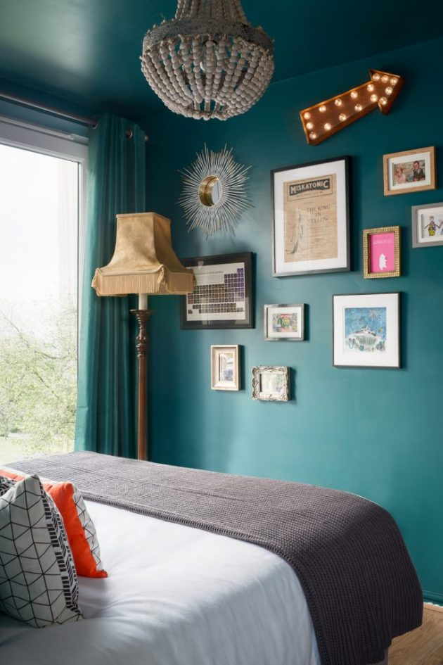 Bold and Glamorous Bedroom and Bathroom by Victoria Hopkins Interiors
