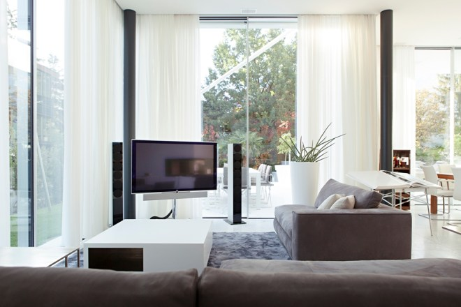 Modern living room and glass walls