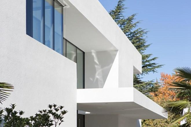 Modern white facade of House M