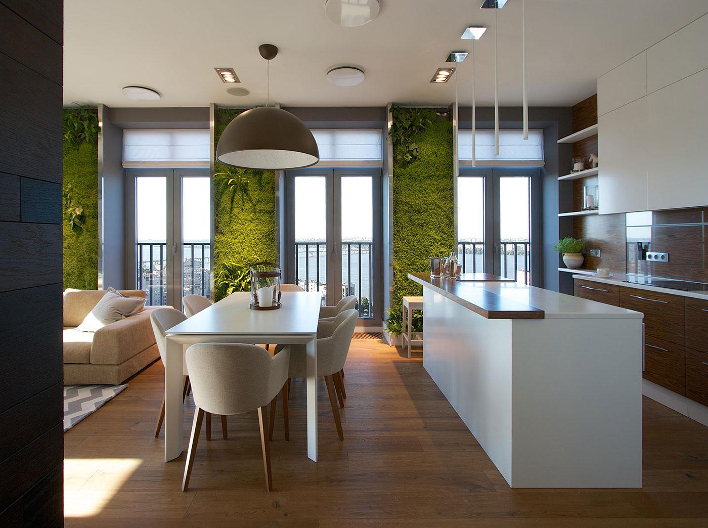 Modern Apartment Design Green Walls by SVOYA  Architecture Beast