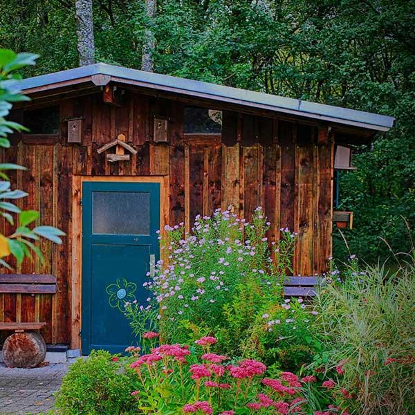 Petit maison de jardin en bois à la campagne