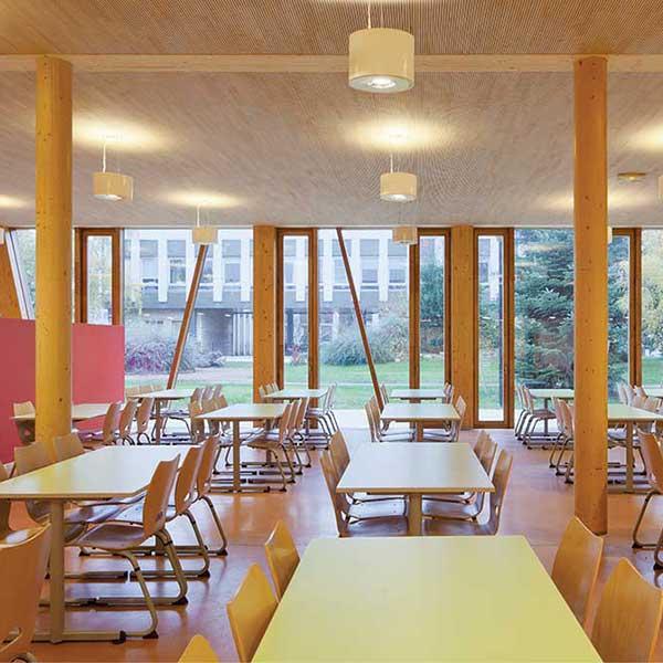 La cantine du groupe scolaire bois Pasteur © R2K / Holzbau Amann / Gaujardtechnologie scop