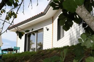 une maison ossature bois moderne avec jardin