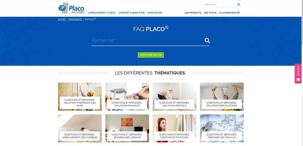 capture d'écran du site  https://particuliers.placo.fr/communaute/faq-placo © Placo®