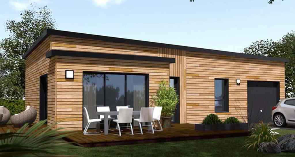 3D modèle peitite maison bois avec jardin