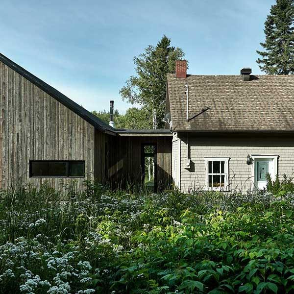 extension en bois d'une maison avec jardin