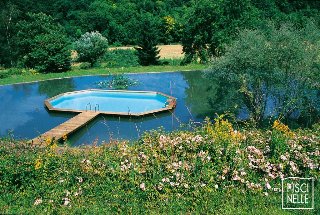 piscine en bois dans bassin bio