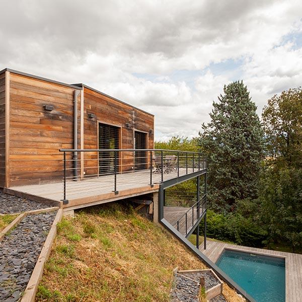 Maison bois bioclimatique - Joël saurin