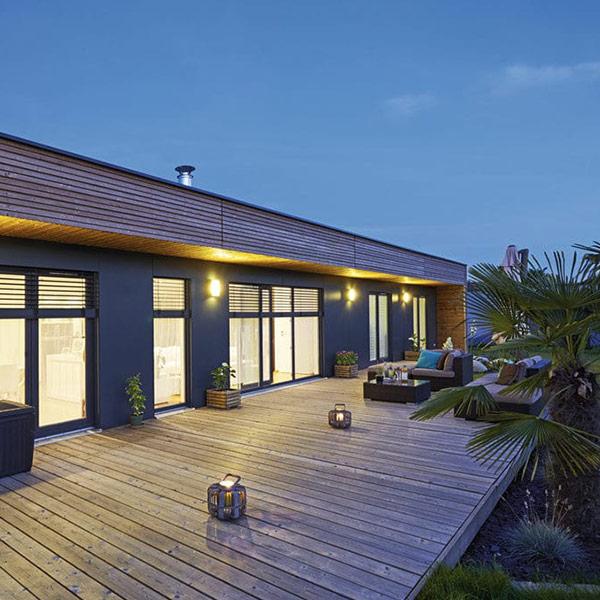 terrasse en bois d'une maison bois