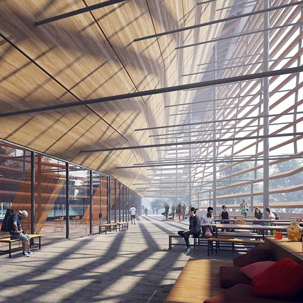 maison écologique potentielle designet by Architectes: VenhoevenCS & Ateliers 2/3/4/ Image: Proloogois-piscine-centre-olympique-paris-jo