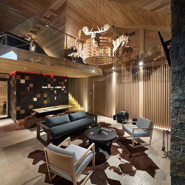 salon en bois dans maison bois