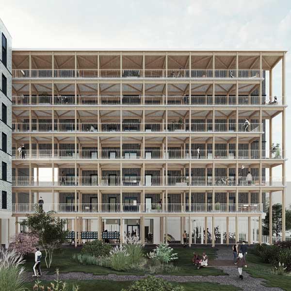 le nouveau bâtiment du résidence étudiante en bois sur le campus de Paris-Saclay