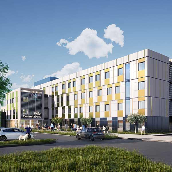 bâtiment de santé en modules bois et béton à Lyon