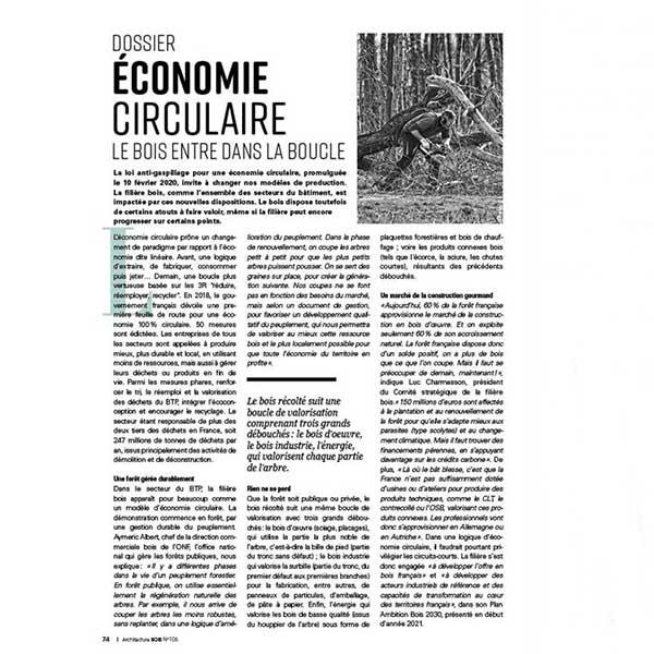 Dossier économie circulaire et bois dans le magazine Architecture Bois N°106 2021