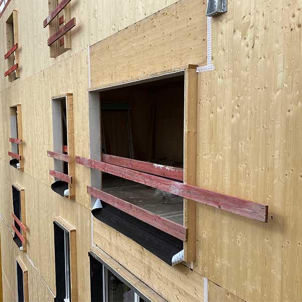 La façade en bois massif CLT de l'immeuble Hoya du promoteur Woodeum © LCA Construction Bois
