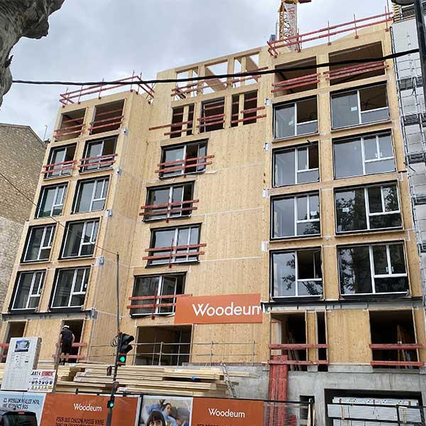 La résidence Hoya en CLT du promoteur Woodeum, en chantier © LCA Construction Bois
