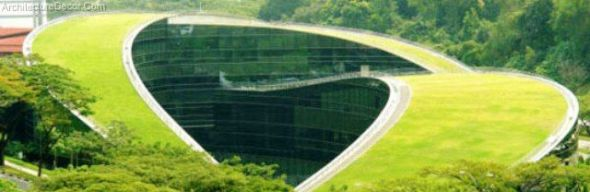 Green Architecture-Amazing Roof Art School in Singapore