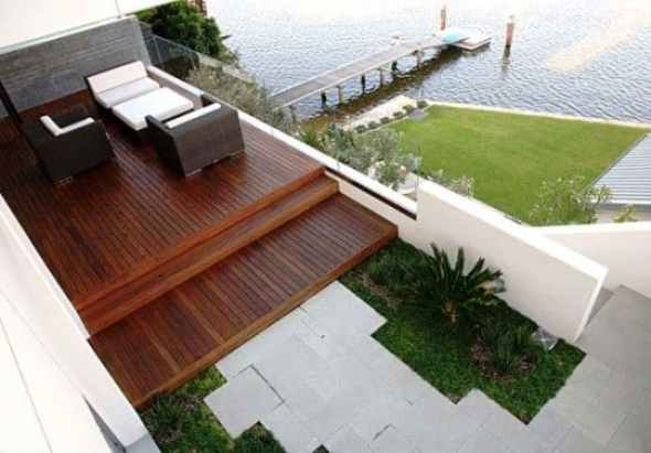 Beautiful Front Garden Design with Timber Decked Patio