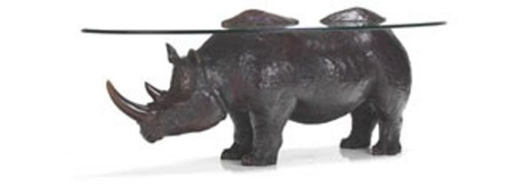 Rhino sculpture bronze coffee table