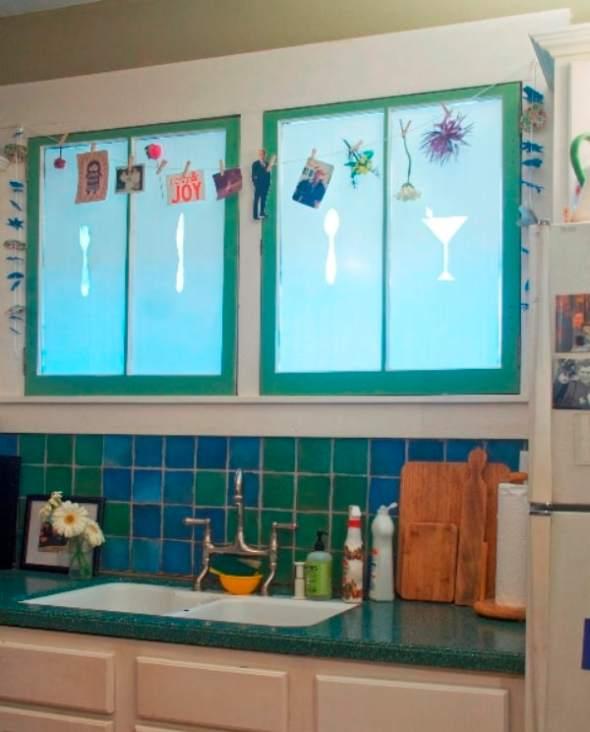 martini glass, spoon, fork as DIY kitchen windows
