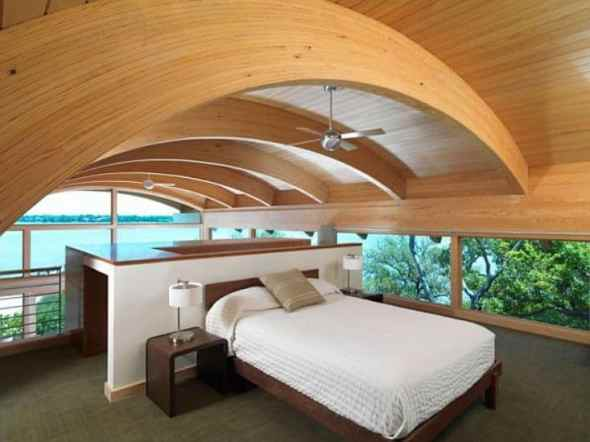 bedroom in hammock guset house with big windows