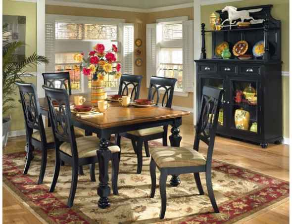 cottage style dining room with natural wood and earth tone