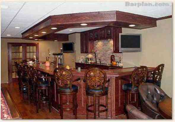 home bar with electrical outlets