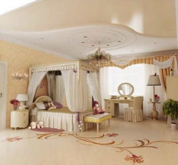 vintage bedroom with antique lamp and mirror