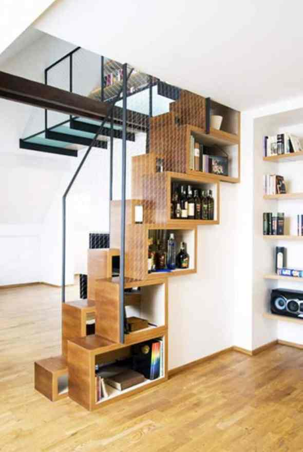 wine rack under the stairway