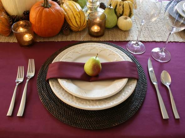Purple table setting with using produce as the decoration