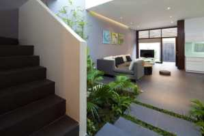 Landing Area with Green Touch - Sophisticated Modern Penthouse Design