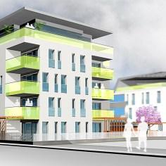 Wohnhausanlage Tulln - Bauteil 2 Ostfassade Rendering
