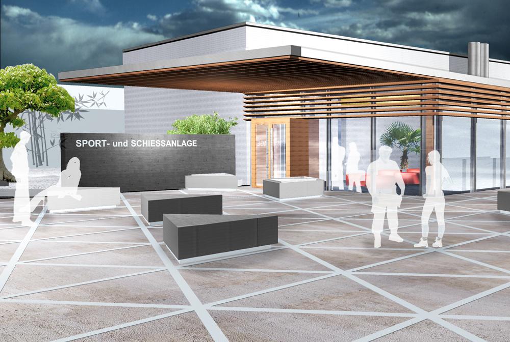 Besucherzentrum Justizanstalt Karlau - Rendering Sportanlage Eingang