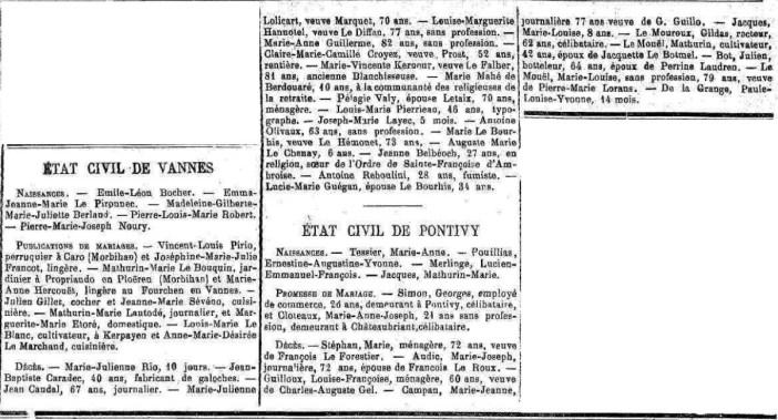 Archives 56 l 39 tat civil de pontivy et de vannes juin 1898 - Presse ancienne morbihan ...