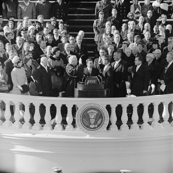 John F. Kennedy takes the oath of office, becoming our nations 35th president. January 20, 1961
