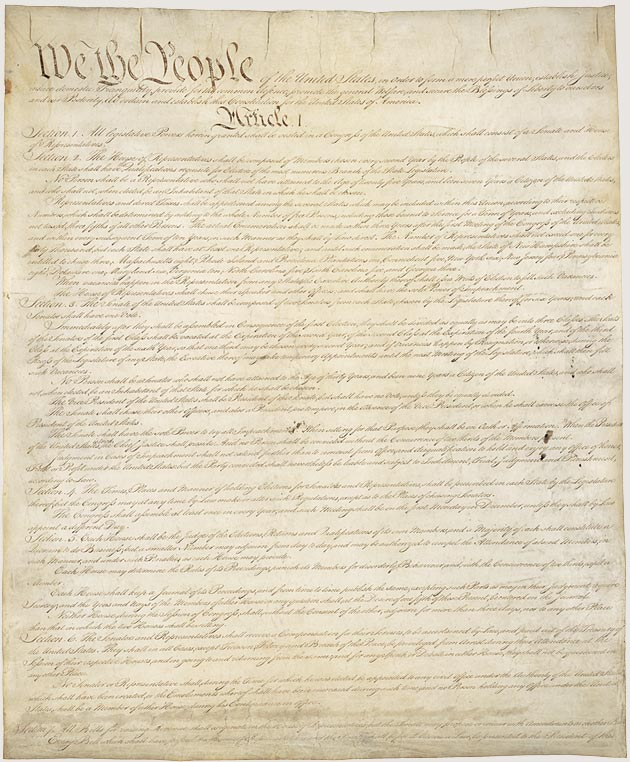 First page of the U.S. Constitution, from the National Archives