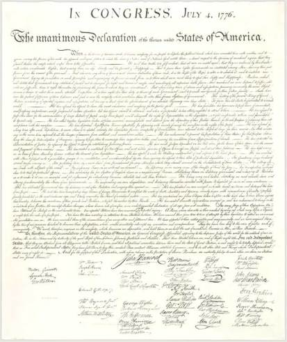 Print from Stone Engraving of the Declaration of Independence
