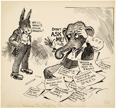 Nearing the End of the Primaries, May 3, 1920; cartoon by Clifford Berryman
