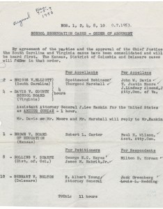 School segregation cases  order of argument record group records the supreme court national archives and administration also in case brown  board education rh