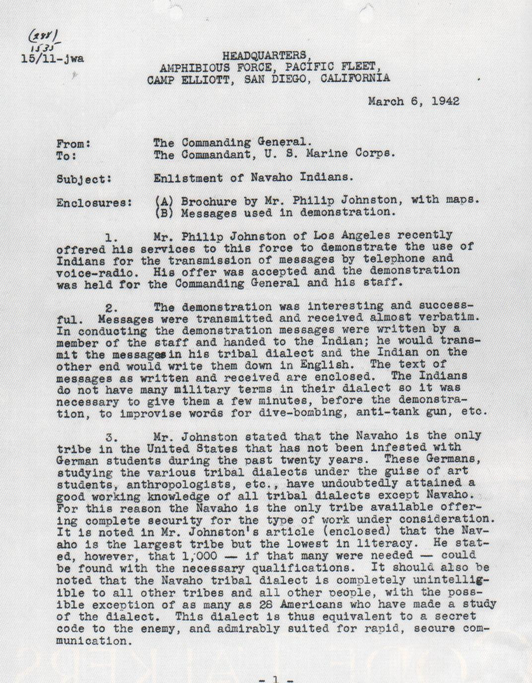Memorandum Regarding The Enlistment Of Navajo Indians