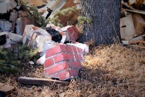 Wrecked Red Brick Chimney