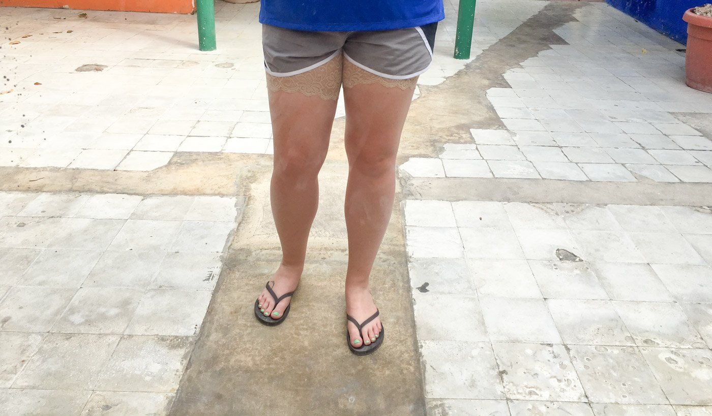 If you're a traveler and you are facing the dreaded thigh burn, here's what to know about how to deal with chafing while traveling.